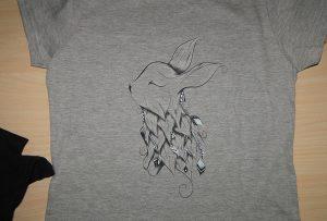 Harmaa t-paidan näyte A2-t-paidan tulostimella WER-D4880T